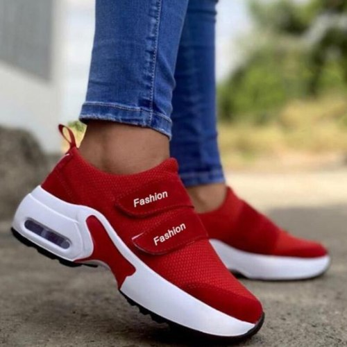 2021 Women Red Sneakers Ladies Air Cushion Shoes Woman Mesh Sneakers Female Breathable Flats Increase Womens Casual Shoes