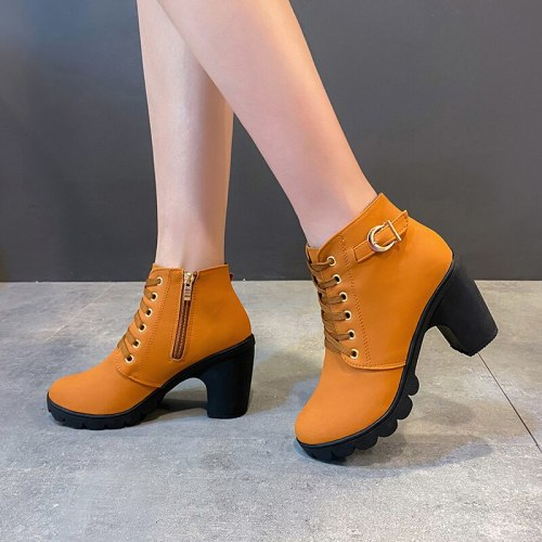 New Spring Winter Women Pumps Boots High Quality Lace-up European Ladies Shoes PU High Heels Boots Fast Delivery