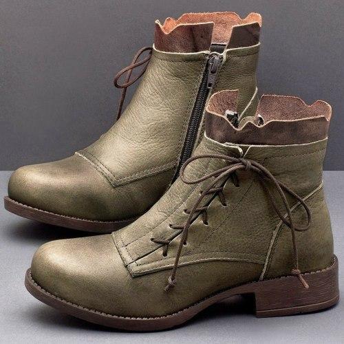 Women's Casual Leather Ankle Short Boots Autumn Vintage Lace Up Women Shoes Comfortable Flats Heel Boots Fashion Plus Sizes