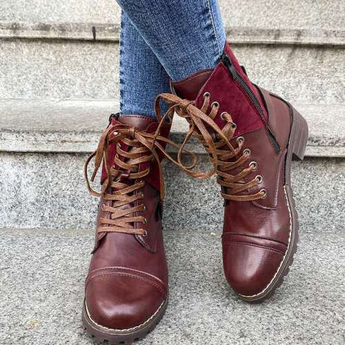Large Size 43 Winter Warm Lady Shoes New European American Round Toe Square Heel Women's Boots Solid Color Lace-up Mid-top Boots