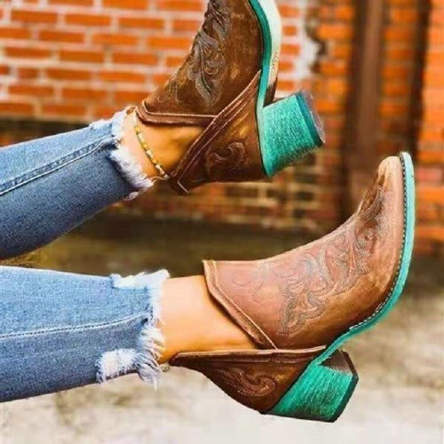 Women Leather Cowgirl Boots Short Cossacks Botas High Heels Shoes Autumn Winter Casual Western Cowboy Ankle Boots Botas Mujer
