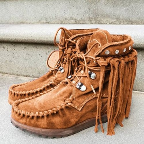Women Faux Suede Boots Autumn Causal Lace Up Round Toe Female Ankle Boots Vintage Solid Tassel Ladies Cowboy Boots Short Boot