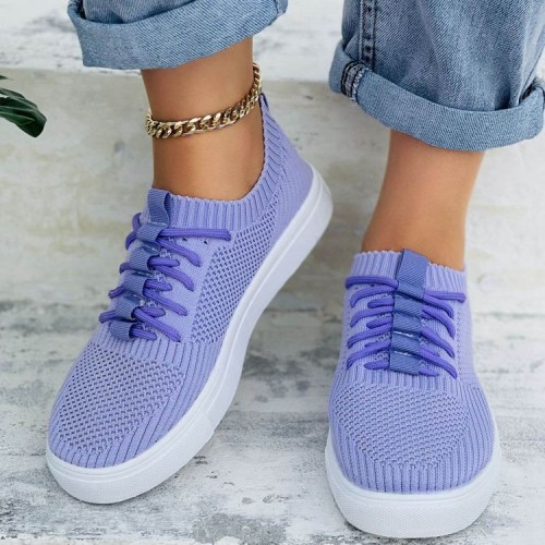 Women White Breathable Mesh Platform Sneakers 2021 Knitting Summer Thick Sole Tennis Walking Shoes Chunky Tennis Casual Shoes