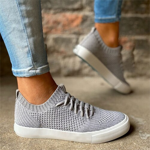 2021 Women Lace-up Sneakers Female Mesh Breathable Vulcanized Ladies Summer Casual Comfort Sport Shoes Fashion Footwear Big Size