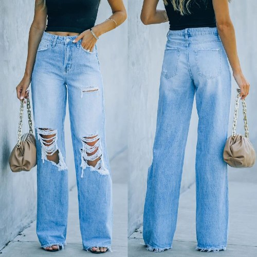 Straight-Leg Denim Pants Jeans Street Hipster Jeans Women Summer Casual Wide Leg Pants Ripped Hole Denim Trousers