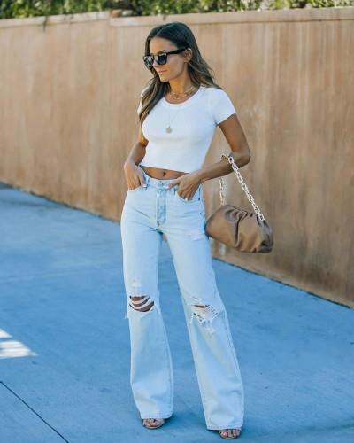 Fashion High Waist Hole Ripped Straight Mom Jeans Women Casual Streetwear Baggy Wide Leg Boyfriend Pants Hollow Denim Trousers