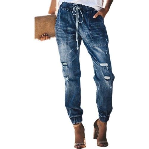 Fashion Women Jeans Pants Ripped Hole Female Trousers Drawstring Elastics Waist Harem Bottoms Women Denim Pants