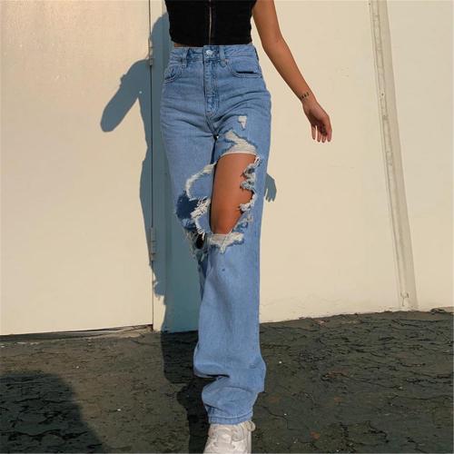 Blue Denim Trousers Vintage Wide Leg Pants Women Korean Straight Long Pants High Waist Casual Loose Autumn Simple Jeans