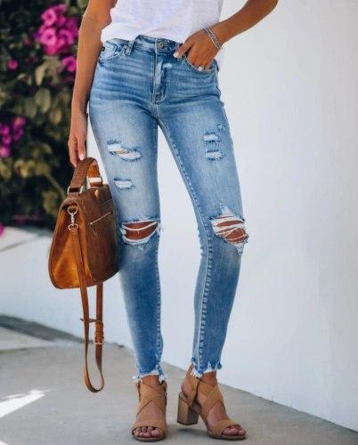 2021 Vintage Streetwear Woman Jeans  Fashiob Blue Ripped Skinny Jeans for Women   Womens Distressed Jeans