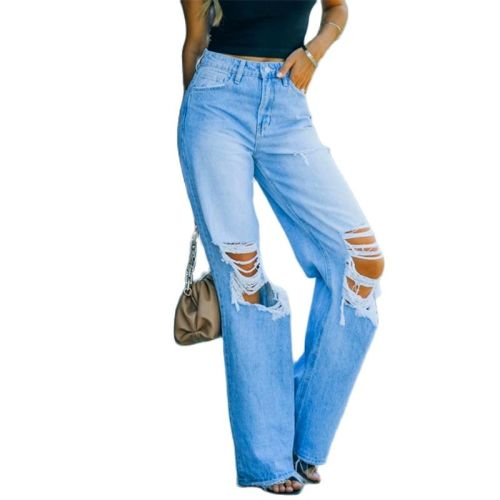 Blue Ripped Jeans Women High Waist Straight Streetwear Hole Denim Trousers Lady Vintage Solid Color Loose Casual Denim Pants