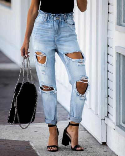 Ripped Streetwear Trousers Washed Jeans Elastic Waist Jeans Ripped Straight Washed Denim Pants High Waist Hole