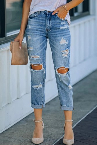 Light Blue Washed Ripped Straight Legs Jeans Women Casual High Waist Jeans Straight Leg Hole Vintage Denim Pants