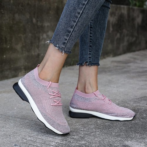 Breathable Mesh Female Casual Flats Lace-up Platform Shoes Women Vulcanized Shoes Woman Autumn Rubber Ladies Flat Sports Shoes