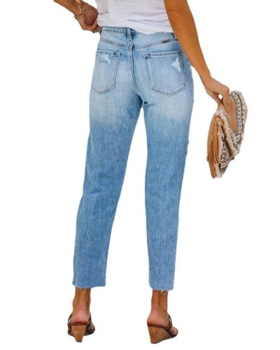 Capri Pants 2021 Autumn Street Hipsters Ripped Holes Loose Washed Cropped Straight-leg Pants Mid-waist Women's Jeans for Girls