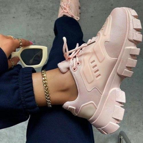 Women Platform Sneakers Women's Sport Shoes Chunky Shoe Thick Heel Sneaker Creepers Woman Footwear Daddy New Designer
