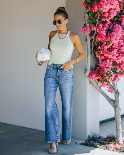 Wide Leg Jeans Women Vintage Flare Jeans  Middle Waist Full Length Denim Trousers Fashion Street Blue Wide Leg Jeans