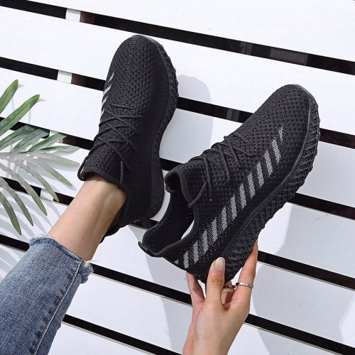 Women's Sneakers Socks Shoes Breathable Knitted Casual Lace Up Spring Ladies Shoes Female Students Vulcanized Running Shoes 2021