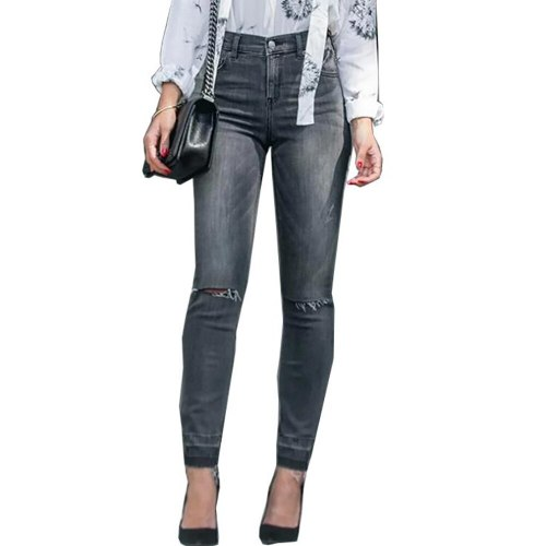 Women's Pants Spring/Summer 2021 New Fashion Women's Jeans Ripped Tfringed Thin Pencil Pants High Waist Denim Pants