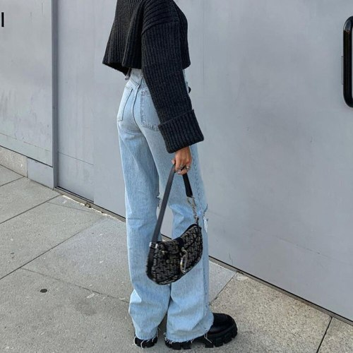 Cargo Pants Women Jeans High Waist Ripped Baggy Jeans Femme Vintage Knee Hole Full Length Pants Denim Trousers Pantalones Mujer