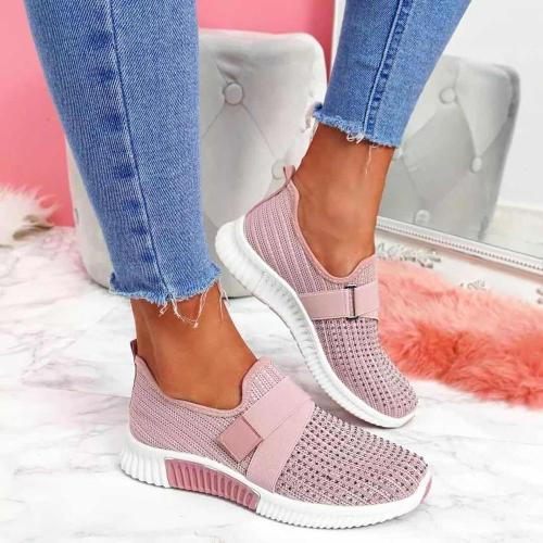 Women Sneakers 2021 New Bling Rhinestone Ladies Shoes Slip On Comfortable Sole Running Walking Shoes Female Flat Sports Shoes