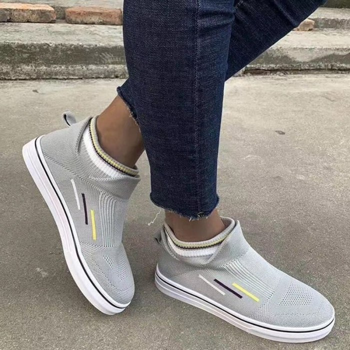 2021 Ladies Comfortable Footwear Female Running Shoes Sneakers Rainbow Color Vulcanized Women's Mesh Breathable Flat