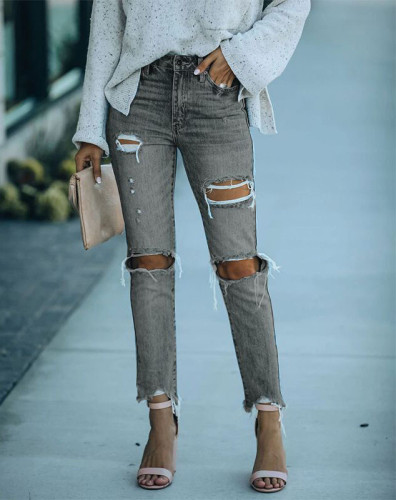 Light Blue Hole Jeans Fit Small Feet Women High Waist Slim Sexy Washed Button Street Slim Wild 2021 Summer Fashion Casual Jeans