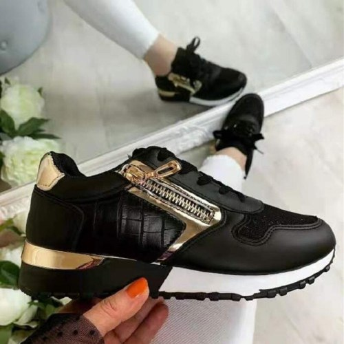 Women Sneakers Single Shoes Autumn Vulcanized Sneakers Loafers Wedge-Heel Platform Thick-soled Hollow Sports Shoes Zapatos Mujer