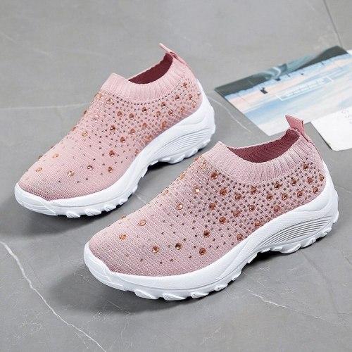 Women Lightweight Sneakers Summer Casual Rhinestone Shoes Ladies Vulcanized Shoes Bling Slip On Sneaker Female Tenis Feminino