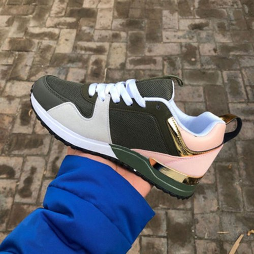 Women Sneakers Fashion Mixed Color Platform Sport Shoes Casual Breathable Suede Leather Running Walking  Lace Up Ladies Shoes
