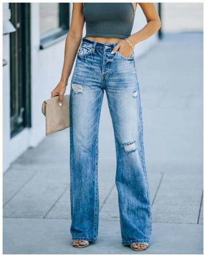 Ladies Jeans High Waist Dress Wide Leg Denim Clothing Blue Street Clothing Vintage Quality Fashion Harajuku Straight Leg Pants