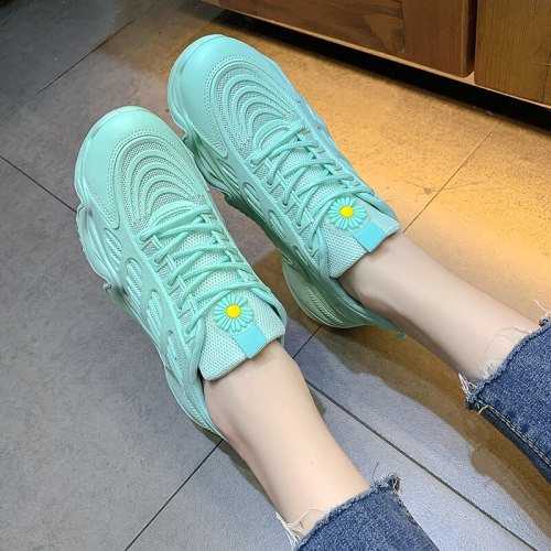 Sneakers Women Shoes Woman Vulcanized Shoes Mesh Lace Up Stretch Fabric Platform Casual Shoes Female Breathable Ladies Flats