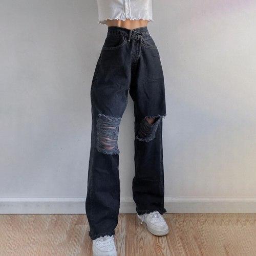 Fashion Holes High Waist Jeans Femme Pantalon  Vintage Streetwear Loose Korean Trousers Joggers Women Denim Pants Black