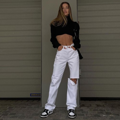 Streetwear Cut Out Straight Jeans Women Baggy High Waist Hole White Trousers Summer Harajuku Vintage Denim Pants Fashion