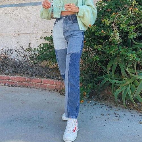 2021 Fashion High Waist Jeans Women Pactchwork Loose Straight Denim Pants Woman Sexy Casual Trousers Streetwear