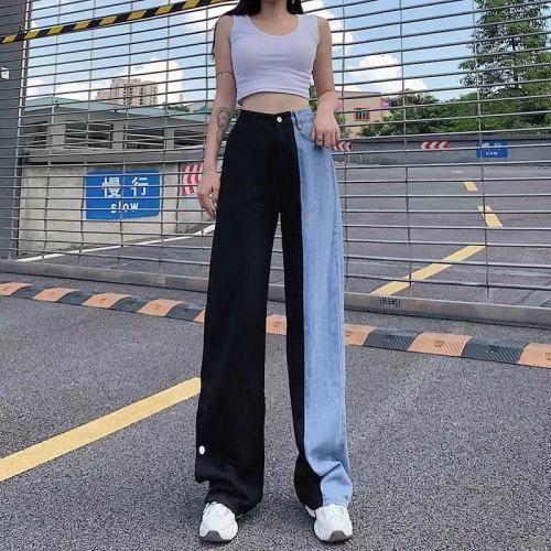 Women Denim Pants Plus Size High Waist Jeans Korean Style All-Match Full-Length Vintage Ladies Wide Leg Blue Jeans Pants