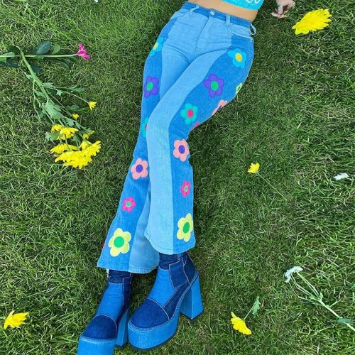Cute Floral Patches Patchwork Jeans Women High Waist Harajuku Flare Jeans Baggy Cargo Pants Aesthetic Denim Pants  Iamhotty