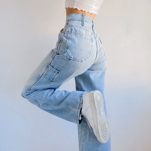 Women's Autumn New Casual Straight Denim Pants 2021 Baggy Jeans Mom Fit High Waist Loose Light Blue Jean Pocket Patchwork Female