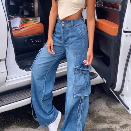 Women High Waist Pockets Straight Jeans Women's All-Match Loose Denim Pants 2021 Autumn Vintage Streetwear Ladies Long Trousers