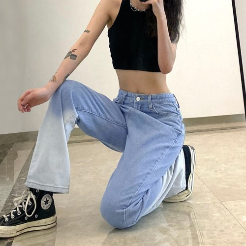 Vintage Tie Dye Straight Jeans Women High Waist Baggy Denim Long Pants Summer Retro  Harajuku Fashion Street Trousers