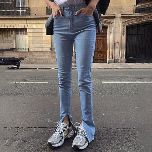 Woman Jeans Pants Design Sense Split Leg Skinny Jeans High Waist Slim Stretch Casual Pants 2021 Pantalones Vaqueros Mujer
