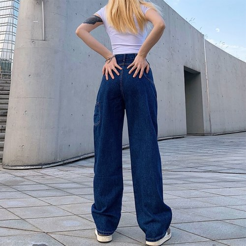 Retro Straight Backpack Large Pocket Wide Leg Women's Jeans High Waist Street Casual Pants Spring And Summer Fashion Loose Jeans