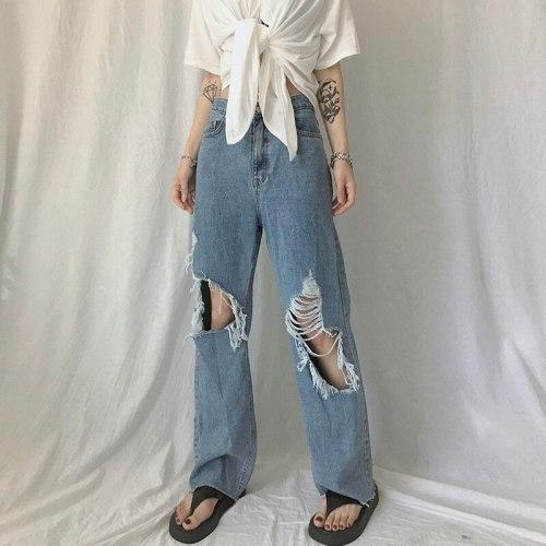 High Waist Hole Ripped Blue Jeans Women Y2K Vintage 90S Denim Straight Pants Streetwear Hollow Boyfriend Baggy Denim Trousers