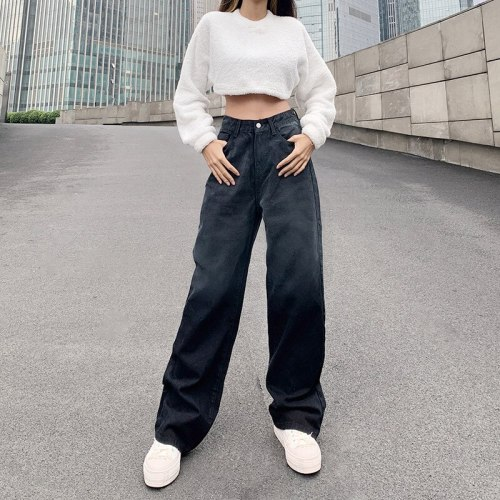 Women Casual Jeans Long Pants Black Tie-dyed Printing High Waist Straight-leg Trousers Baggy Loose Denim Fashion Streetwear
