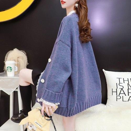 Women Pullover Cute Strawberry Pattern V Neck Women Cardigan Loose Casual Knitted Warm Sweater Outwear Girls Streetwear Fall Top