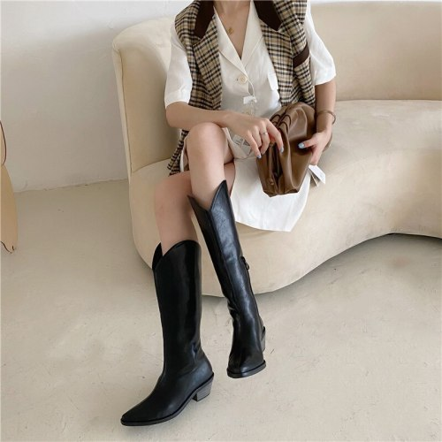 2021 Autumn and Winter New High-tube Retro Thick-heeled Western Cowboy Female Knight But Knee Long Women's Boots