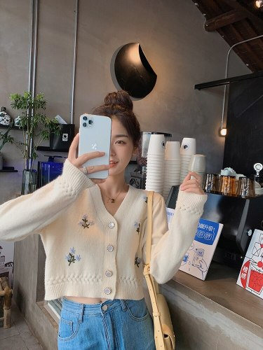 Fashion Sweater Women'S Vintage Floral Knitted Cardigan Chic V Neck Long Sleeve Casual Short Outerwear 3 Colour Autumn Spring
