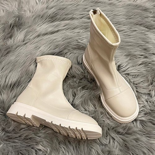 2021 Thick Low Heels Soft Pu Leather Women Motorcycle Boots Zipper Round Toe Platform Shoes Fashion Autumn Female Sexy Booties