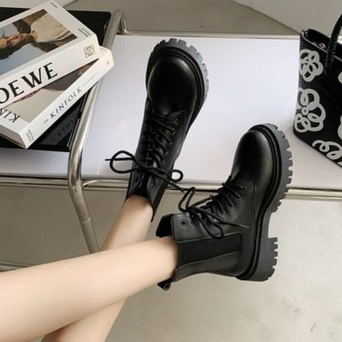 2021 Autumn New Fashion British Style Women's Casual Boots Round Toe Square Heel Thick-soled Comfortable Women's Casual Boots