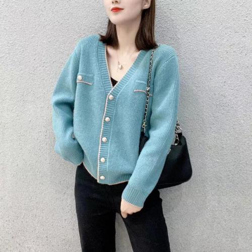 Autumn Winter Short V-neck Knitted Cardigan Women Slim Loose Sweater Coat Women Jacket Wool White Knit Cardigan