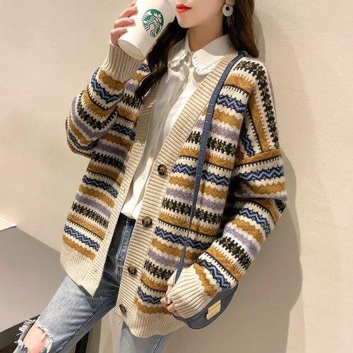 Color Block Cardigan Knitted Autumn Loose V Neck Striped Cardigan Harajuku Aesthetic Strickjacke Damen Women Clothes